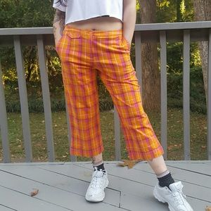 Orange cropped plaid pants 8 Medium crop pant